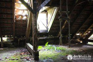 Dachboden mit eindringender Vegetation