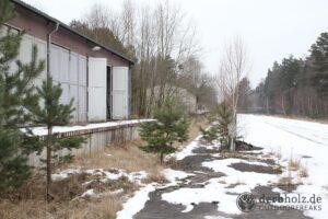 Derbholz MUNA Bunker Wolfsruh Bahnhofshalle im Schnee