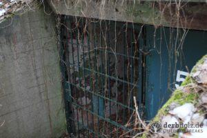 Derbholz MUNA Bunker Wolfsruh Bunkereingang mit Gitter