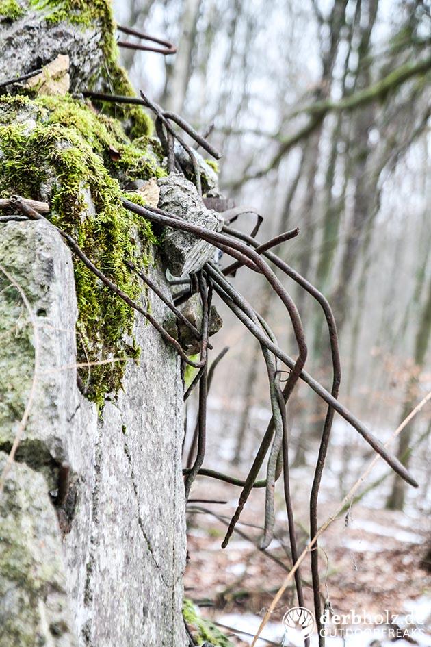 Derbholz MUNA Bunker Wolfsruh Stahlbeton mit Moos