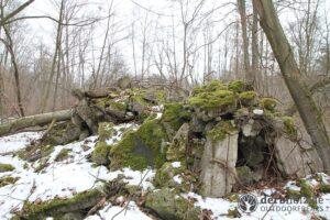Derbholz MUNA Bunker Wolfsruh Trümmerfeld aus Stahlbeton