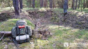 Derbholz Solo Camping Rucksack mit Erste-Hilfe-Set am Lager